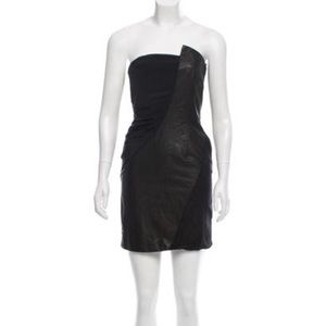 Alice + Olivia LBD silk & leather panel strapless